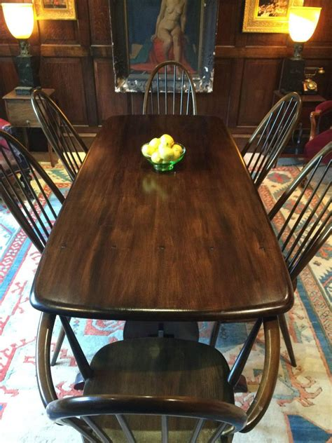 Quaker Dining Room Tables Vintage Ercol Dining Table With Six Chairs Solid Elm