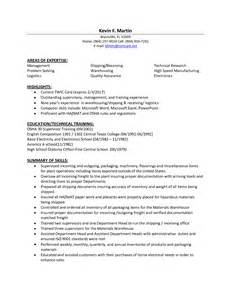 warehouse management resume sle sle resume for warehouse supervisor resume in distribution