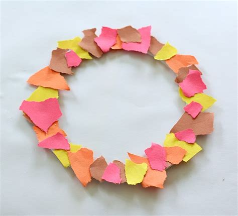 Paper Tearing Craft - fall crafts for tear fall wreath buggy and buddy