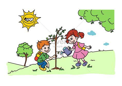 gambar reboisasi hutan kartun gambar kartun
