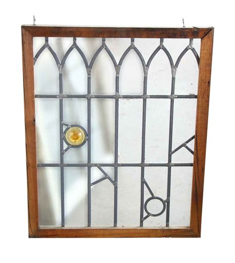 small stained glass l tudor style clear leaded glass with small decorations