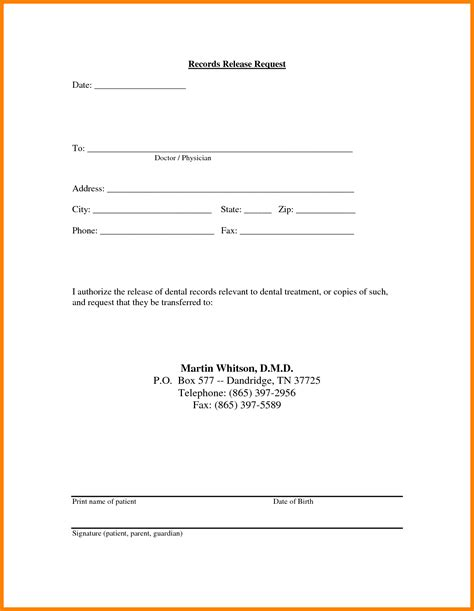 41 health record template medical records release form 10 free