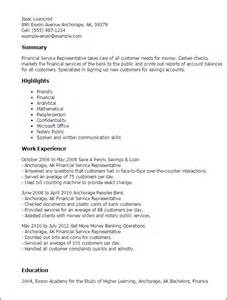 Financial Representative Sle Resume by Professional Financial Service Representative Templates To Showcase Your Talent Myperfectresume