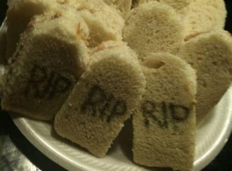 tombstone finger sandwiches fall halloween pinterest