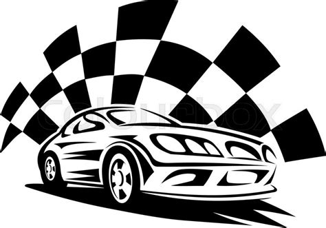 car logo black and white black silhouette of modern racing car with checkered flag