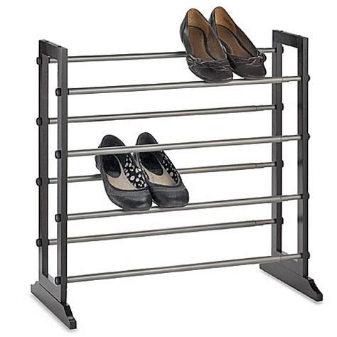 shoo rack bathroom 4 tier expandable shoe rack in mahogany bed bath beyond