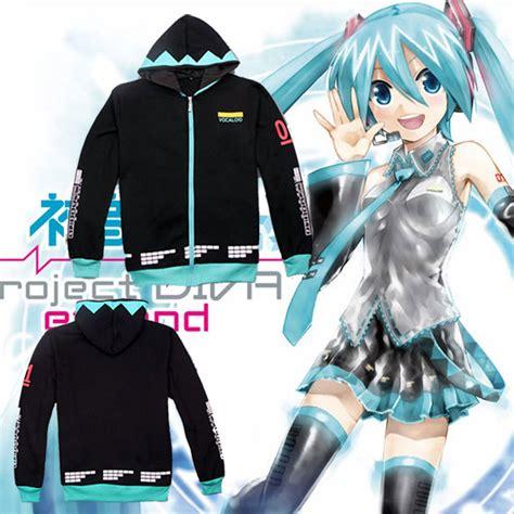 Anime Kaos Hoodie Miku anime vocaloid hatsune miku unisex casual hoodie sweatshirt winter warm hooded jacket coat in
