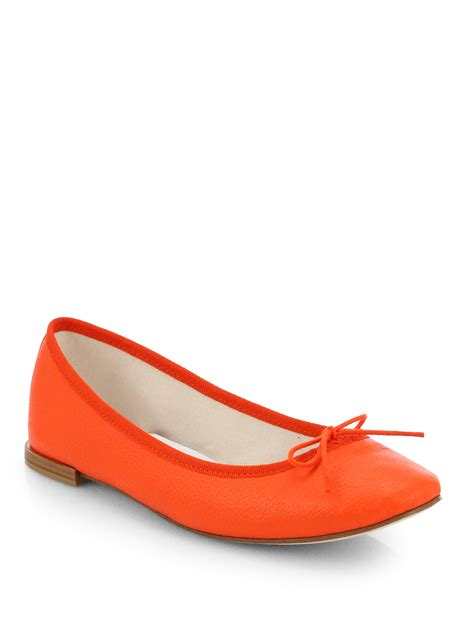 shoes flats lyst repetto pebbled leather bow ballet flats in orange