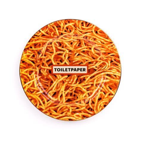 commode seletti porcelain plate spaghetti gold border seletti