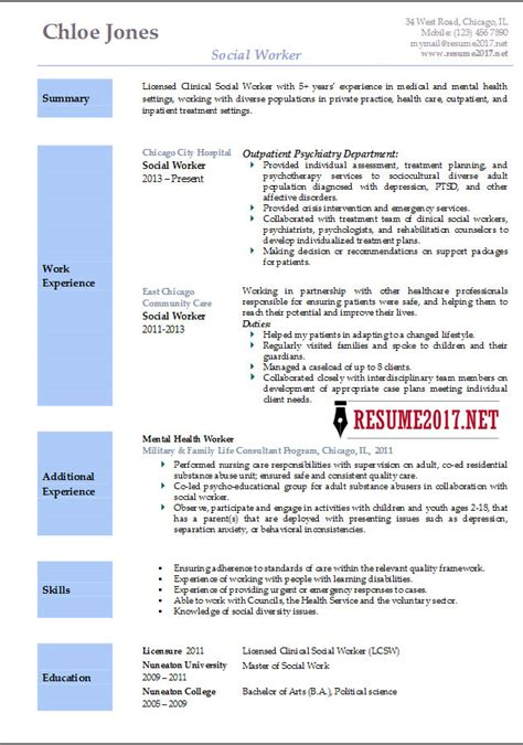 Social Work Resume Templates by Social Worker Resume Template 2017