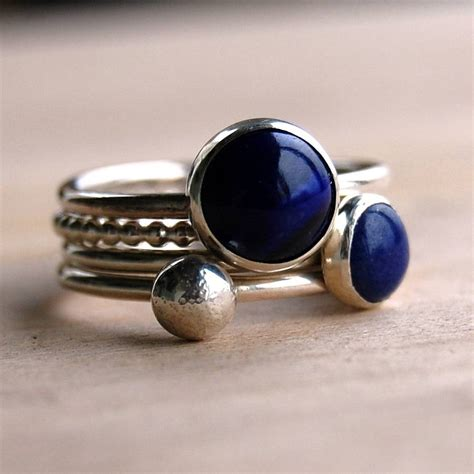 Handmade Ring - lapis lazuli handmade stacking rings by alison