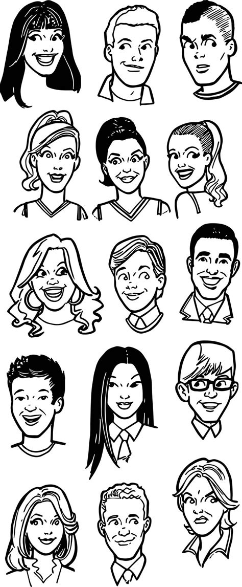 glee archie faces coloring page kids activity
