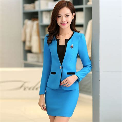 executive suits for working women 2015 women skirt suits high quality candy color office uniform