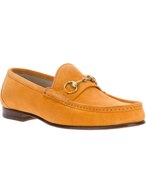 mens orange loafers gucci suede loafers in orange for lyst
