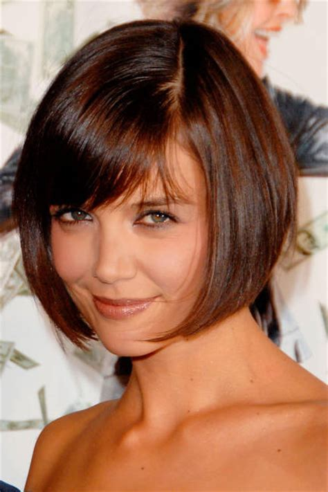 katie holmes s short bob look with bangs careforhair co uk