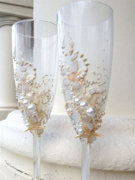 Starfish Wedding Champagne Glasses, Beach Wedding Toasting Flutes In Ivory, Destination Wedding