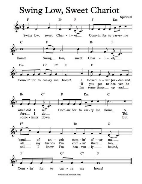 swing low sweet chariot sheet music free lead sheet swing low sweet chariot