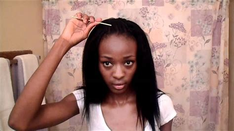 straight hair at front and curls at back tutorial partial sew in in the back crochet braids in