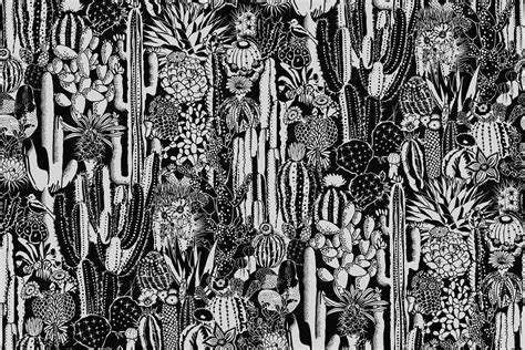 black and white wallpaper decor cactus spirit wallpaper in contrast design by aimee wilder