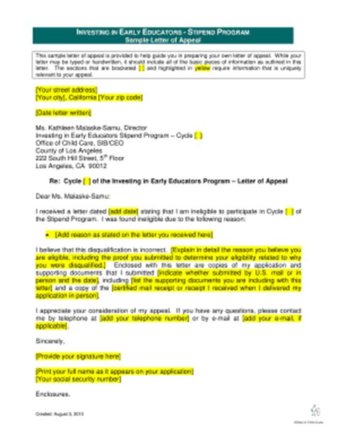 Edd Appeal Letter Exle Appeal Letter Sle Forms And Templates Fillable Forms Sles For Pdf Word