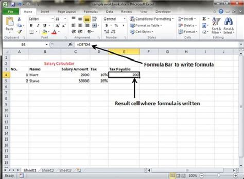 tutorialspoint excel creating formulas in excel 2010