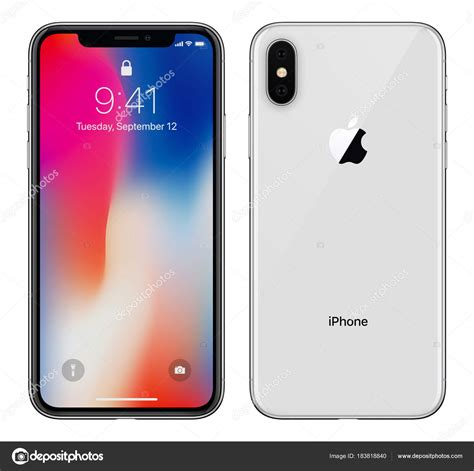 white apple iphone x with ios 11 lockscreen front side and