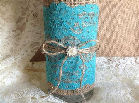 Rustic Turquoise blue lace and natural burlap covered