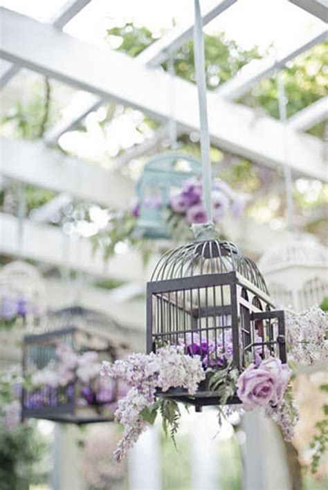 Lavender Wedding Decorations by Lavender Hanging Birdcages