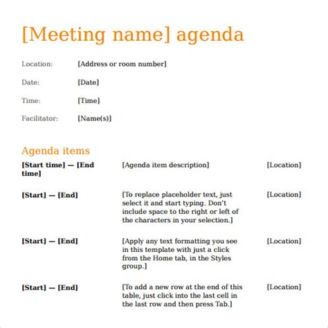 printable meeting agenda template calendar template 2016