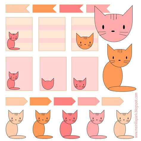 Printable Cat Stickers | free printable cat planner stickers ausdruckbare