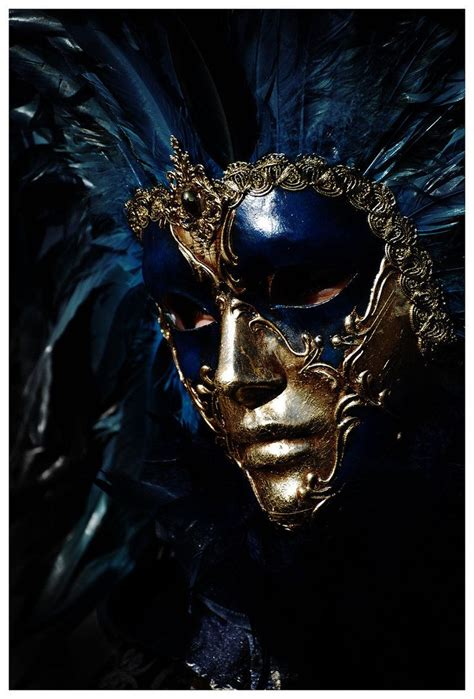 full face venetian carnival mask in midnight blue amp gold