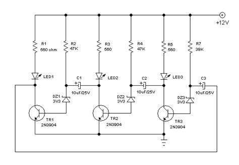 layout rangkaian running led simple running led led chaser circuit using 3