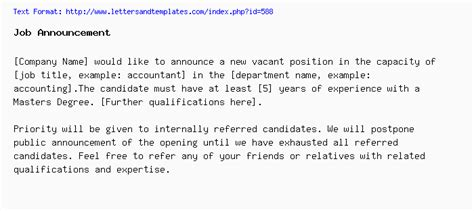 Job Announcement Posting Email Template