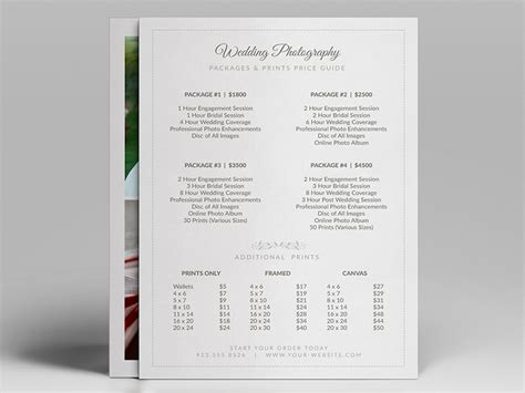 Wedding Photographer Pricing Guide Price Sheet List 5x7 Cursive Q Bridal Guide Template For Photographers