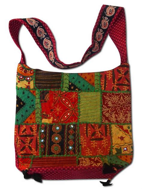 Design Of Handmade Bags - patchwork handmade handbag in multicolor with embroidery