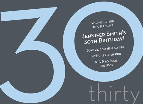 30th invite template numeral card 30th blue milestone birthday invitations by