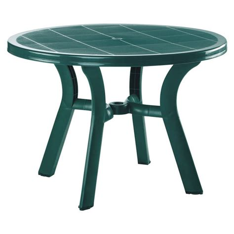 Compamia Truva 42 Quot Round Resin Patio Dining Table In Green Green Patio Table