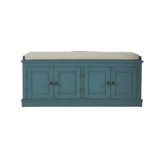 Home Decorators Bench | home decorators collection laughlin antique blue storage bench 7721700310 the home depot