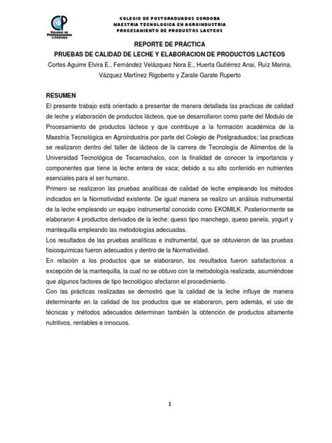 Reporte De Práctica Pruebas De Calidad De Leche Y