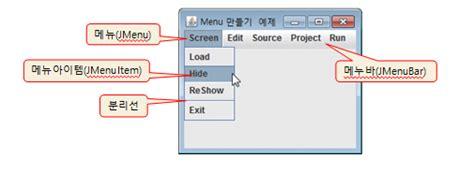java swing widgets swing 메뉴 구성 메뉴 만들기 메뉴 아이템에 action 이벤트 달기 네이버 블로그