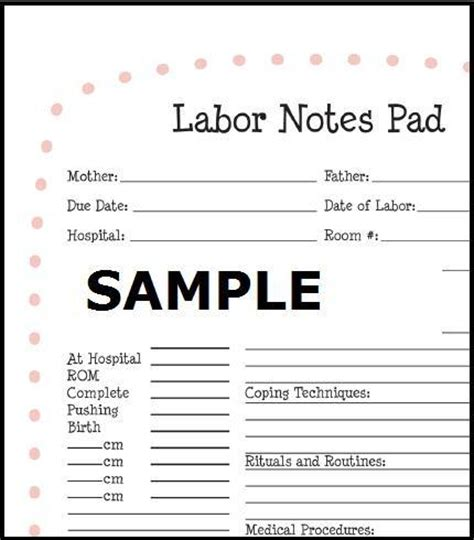 Labor Notespad Notepad For Doulas Yourdoulabag Doula Contract Template