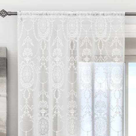 damask voile curtains holly damask laced white voile curtain panel tonys textiles