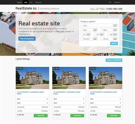 Real Estate Responsive Bootstrap Website Templates On Creative Market Real Estate Company Website Template