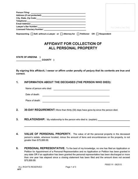 Free Arizona Small Estate Affidavit Form Pdf Word Do It Yourself Forms Free Will Template Arizona