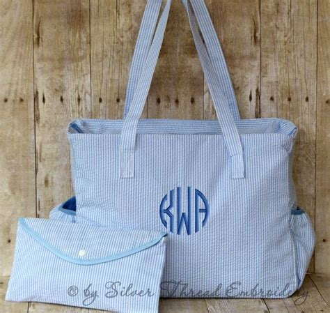 personalized diaper bag blue seersucker monogrammed baby