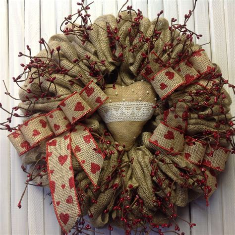 burlap wreathfront doorwreath valentines day burlap