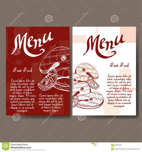 food menu card templates cafe menu with design fast food restaurant