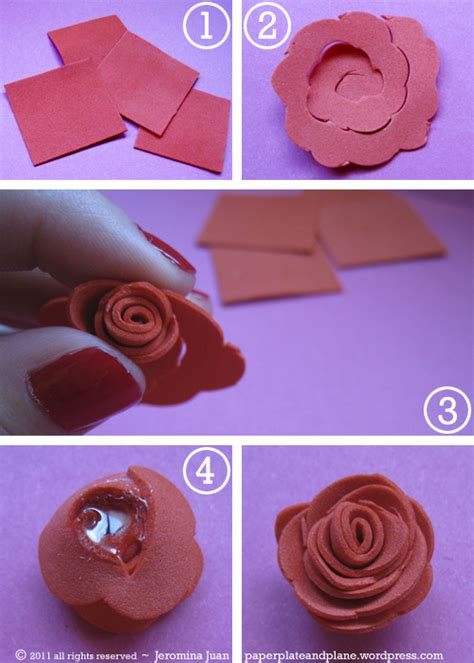 Roses Paper Craft - no fuss foam roses paper plate and plane