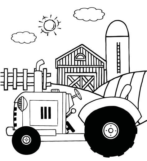 coloring pages of a vintage tractor in front of country