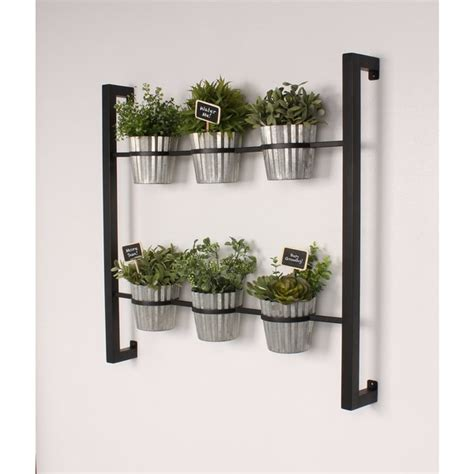 Kate And Laurel Groves Indoor Herb Garden Black Metal Wall Hanging Indoor Herb Garden
